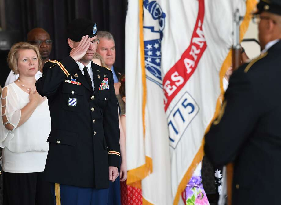 Lieutenant Colonel Gordan Vincent salutes during 842nd Transportation Battalion's Change of Command Ceremony where he was appointed the new commander on Wednesday. Photo taken Wednesday, 5/15/19 Photo: Guiseppe Barranco/The Enterprise, Photo Editor / Guiseppe Barranco ©