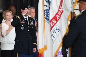 Lieutenant Colonel Gordan Vincent salutes during 842nd Transportation Battalion's Change of Command Ceremony where he was appointed the new commander on Wednesday. Photo taken Wednesday, 5/15/19