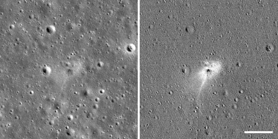 These images show the Beresheet crash site as seen by NASA's LRO. The image on the right is processed to highlight changes near the landing site. Photo: NASA/GSFC/Arizona State University