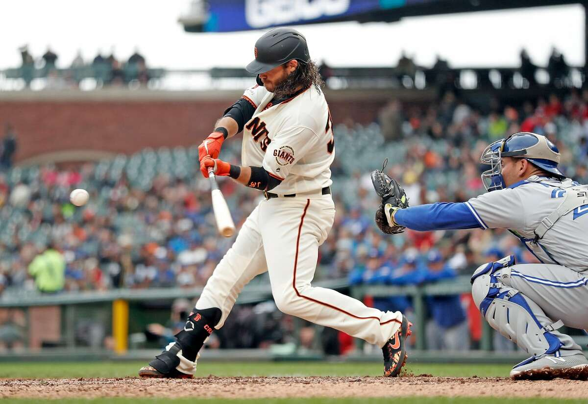 San Francisco Giants' Brandon Crawford hits the go-ahead home run in 6th inning during 4-3 win over Toronto Blue Jays during MLB game at Oracle Park in San Francisco, Calif., on Wednesday, May 15, 2019.