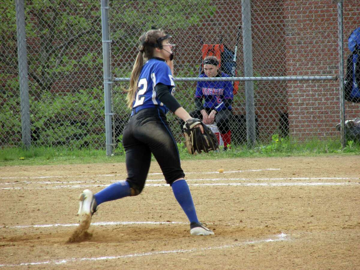 Lewis Mills sophomore Hailey Gorack hit two home runs while pitching the Spartans to a win over Nonnewaug Wednesday afternoon at Lewis Mills High School, on Wednesday, May 15, 2019.