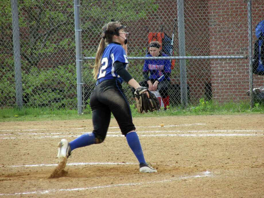 Lewis Mills sophomore Hailey Gorack hit two home runs while pitching the Spartans to a win over Nonnewaug Wednesday afternoon at Lewis Mills High School, on Wednesday, May 15, 2019. Photo: Peter Wallace / For Hearst Connecticut Media / Stamford Advocate Freelance