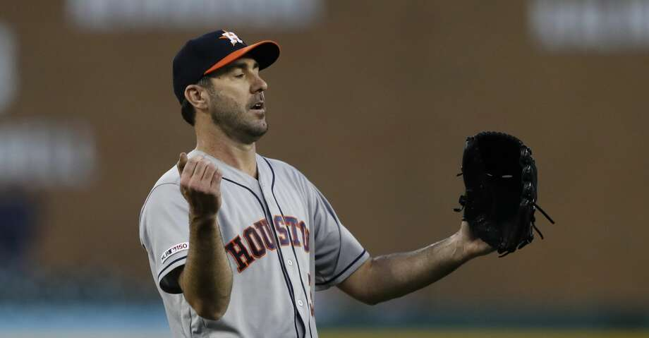 Houston Astros starting pitcher Justin Verlander reacts after the last out during the fifth inning of a baseball game against the Detroit Tigers, Wednesday, May 15, 2019, in Detroit. (AP Photo/Carlos Osorio) Photo: Carlos Osorio/Associated Press