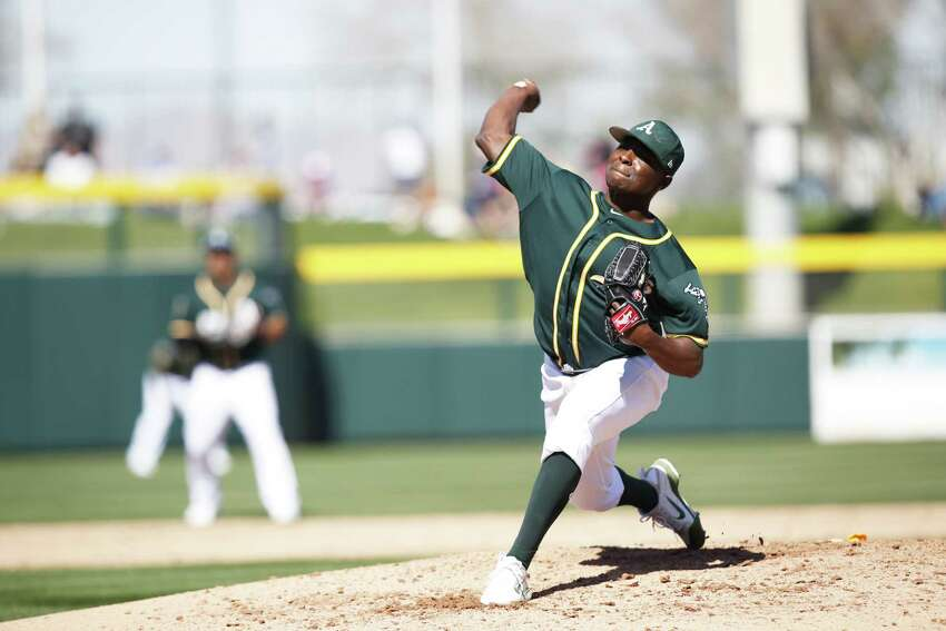 MESA, AZ - FEBRUARY 24: Jharel Cotton #45 of the Oakland Athletics pitches during the game against the San Diego Padres at Hohokam Stadium on February 24, 2018 in Mesa, Arizona. (Photo by Michael Zagaris/Oakland Athletics/Getty Images) *** Local Caption *** Jharel Cotton