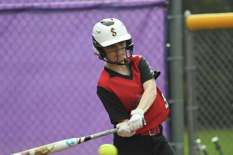 Guilderland's Anna Chickarelli hits a foul ball during a game in Ballston Spa, N.Y., on Tuesday, May 1, 2018. (Jenn March, Special to the Times Union) Photo: Jenn March / © Jenn March 2018 © Albany Times Union 2018