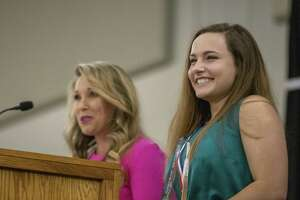 College Park volleyball player Jill Bohnet smiles after being named female gold overall winner during the annual Mike Ogg All Montgomery County Athlete Awards Ceremony on Wednesday, May 15, 2019 at the Lone Star Convention & Expo Center in Conroe.