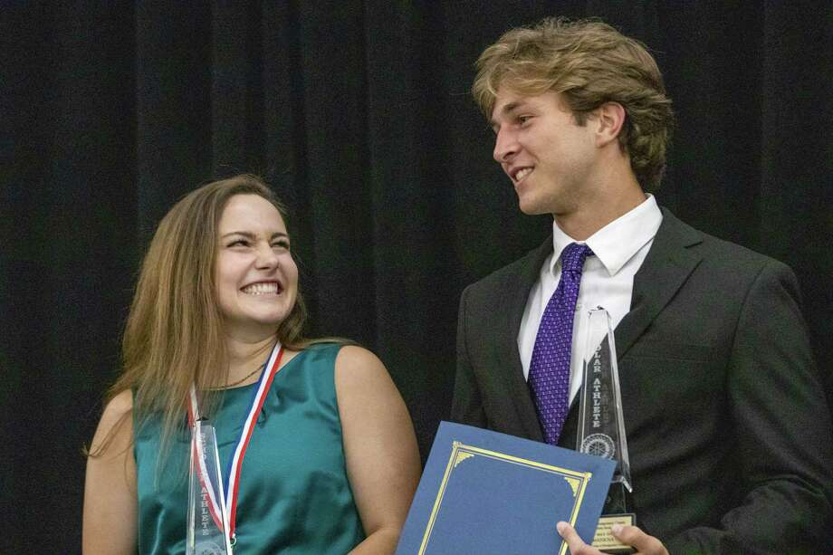 Magnolia West football player John Matocha and College Park volleyball player Jill Bohnet are named the gold overall winners during the annual Mike Ogg All Montgomery County Athlete Awards Ceremony on Wednesday, May 15, 2019 at the Lone Star Convention & Expo Center in Conroe. Photo: Cody Bahn, Houston Chronicle / Staff Photographer / © 2018 Houston Chronicle