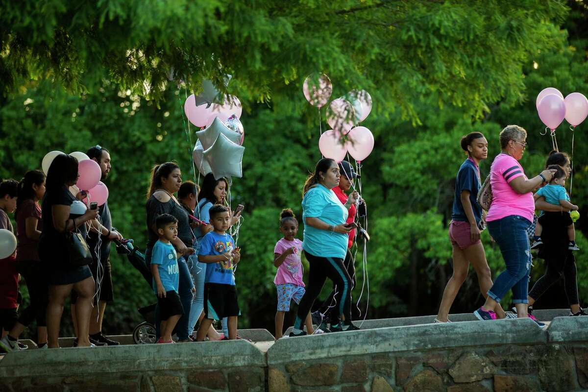 Hundreds of supporters arrive with balloons in hand to the Oyster Creek Park in Sugar Land to join the community in a balloon release ceremony in remembrance of missing four-year-old Maleah Davis on Wednesday, May 15, 2019, in Sugar Land.