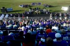 Fans, friends and fellow coaches and players fill the stadium during Wednesday's memorial service for 2-time state champion Newton football coach W. T. Johnston at the stadium. Johnston, who for years battled complications from a lung transplant, passed away Saturday. He had recently retired as head coach and was replaced by his son Drew Johnston. Photo taken Wednesday, May 15, 2019 Kim Brent/The Enterprise