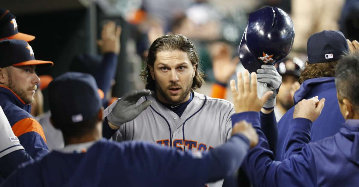 Houston Astros' Jake Marisnick celebrates his two-run home run in the seventh inning of a baseball game against the Detroit Tigers in Detroit, Monday, May 13, 2019. (AP Photo/Paul Sancya)