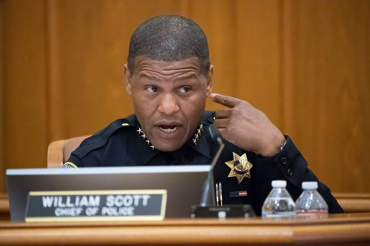 San Francisco Police Chief Bill Scott is giving his Chief's Report to the Police Commission meeting on Wednesday, May 15, 2019, in San Francisco, CA.