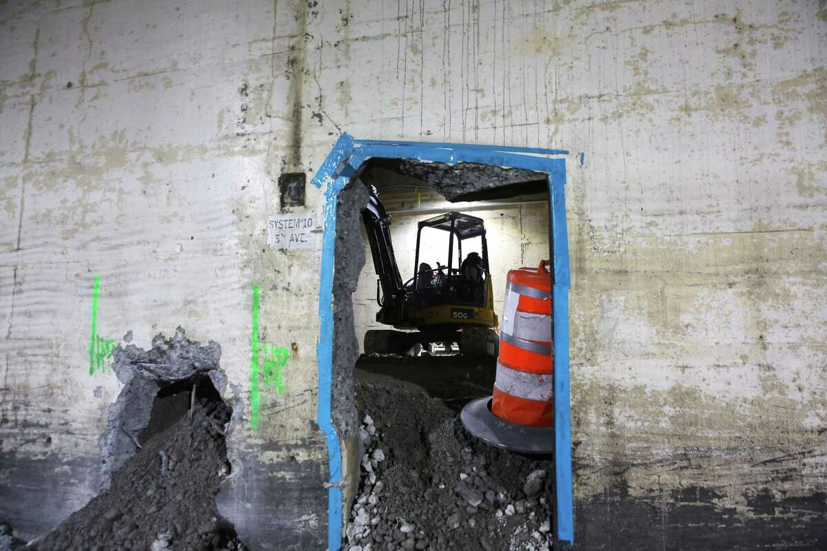 The Washington Department of Transportation began filling the 2,100-foot-long Battery Street Tunnel with rubble from the demolition of the Alaskan Way Viaduct last week. The tunnel will eventually be filled with 74,000 tons of recycled rubble. Photograph taken May 15, 2019.