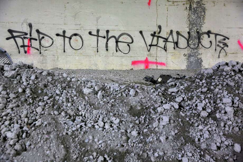 Messages are left visible on the walls of the 2,100-foot-long Battery Street Tunnel, Wednesday as contractor Kiewit begins filling it with rubble from the demolition of the Alaskan Way Viaduct. The tunnel will eventually be filled with 74,000 tons of recycled rubble. Photograph taken May 15, 2019. Photo: Genna Martin, SEATTLEPI / GENNA MARTIN
