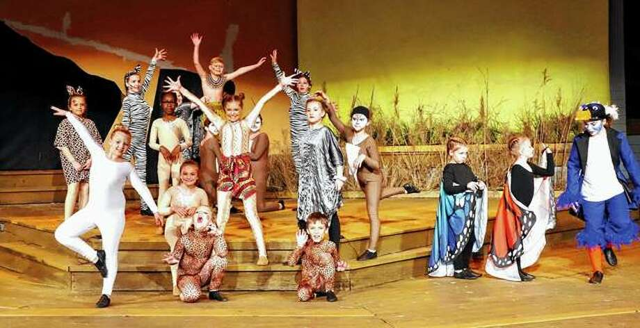 """Members of the cast rehearse a scene from Disney's """"The Lion King Jr."""" at Theatre in the Park at Lincoln's New Salem State Historic Site in Petersburg. Photo: Photo Provided"""