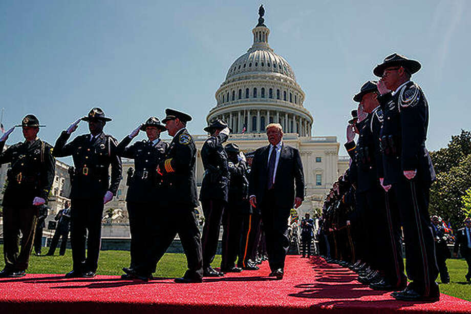 President Donald Trump arrives to deliver remarks at the 38th annual National Peace Officers' Memorial Service at the U.S. Capitol on Wednesday. Photo: Evan Vucci | AP