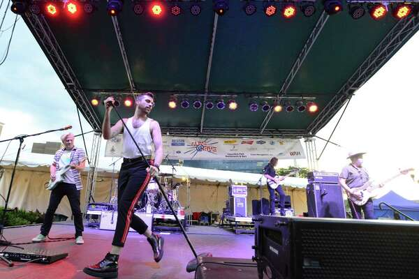 The rock band Neon Trees and retro-pop duo Fly by Midnight close out the Alive@Five summer concert series at Columbus Park in Stamford, Conn., on Aug. 2, 2018.