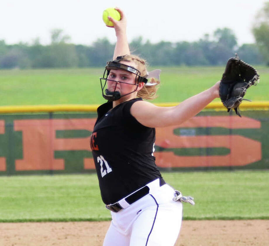 Gillespie's Sydney Bires, shown pitching earlier this season, fanned 10 in her complete-game 2-1 win over Staunton on Wednesday in the Gillespie Class 2A Regional. Photo: Greg Shashack / The Telegraph