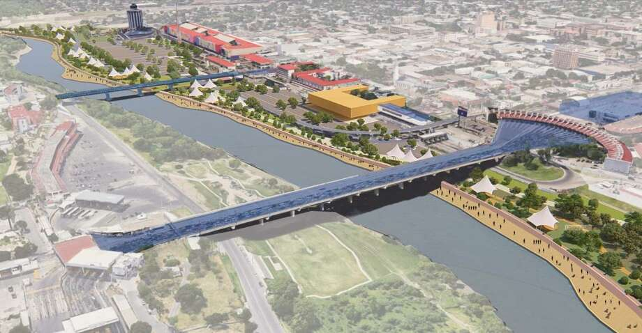 "This rendering displays the US-Mexico border — particularly Laredo's outlet mall area — if it had a levee wall built along the riverfront which people could walk next to as ""as a beautification and economic development driver for downtown."" Photo: Courtesy Photo"