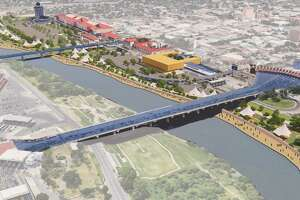 """This rendering displays the US-Mexico border — particularly Laredo's outlet mall area — if it had a levee wall built along the riverfront which people could walk next to as """"as a beautification and economic development driver for downtown."""""""