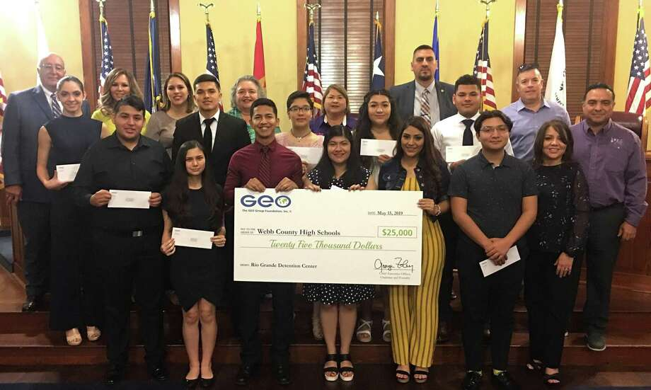 Local students received 25 scholarships totaling $25,000 at the GEO Group awards on Wednesday at the Webb County Commissioner's Courtroom. Photo: Courtesy Photo
