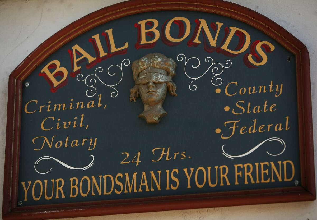 A sign outside Aces Bail Bonds, across the street from the North Avenue jail in Bridgeport.