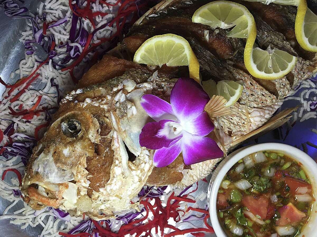 A whole fried snapper is a specialty at Tong's Thai Restaurant.