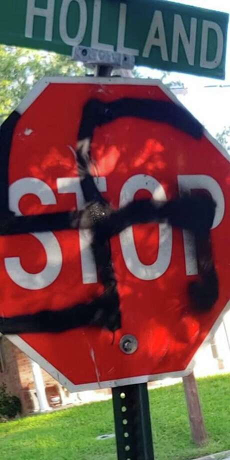 On Monday May 13, 2019 the Bellville Police Department posted photos of some vandalized street signs with swastikas spray painted on them. Photo: Bellville PD/Facebook