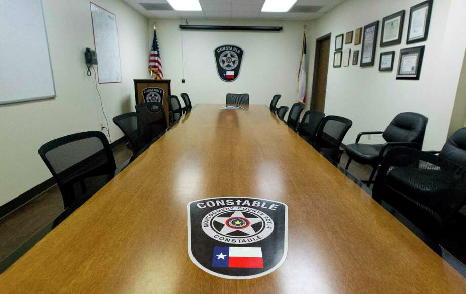 A conference room doubles as a media room at Montgomery County Precinct 4 Constable's Office in 2019 in New Caney. Precinct 4 has been amplifying its social media presence by joining Parler. Photo: Jason Fochtman, Houston Chronicle / Staff Photographer / © 2019 Houston Chronicle