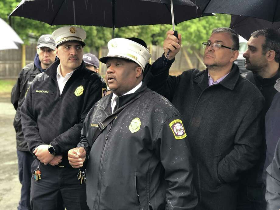 Fire Chief John Alston announced Monday that a fire at the Diyanet Mosque of New Haven had been intentionally set. Photo: Ben Lambert / Hearst Connecticut Media