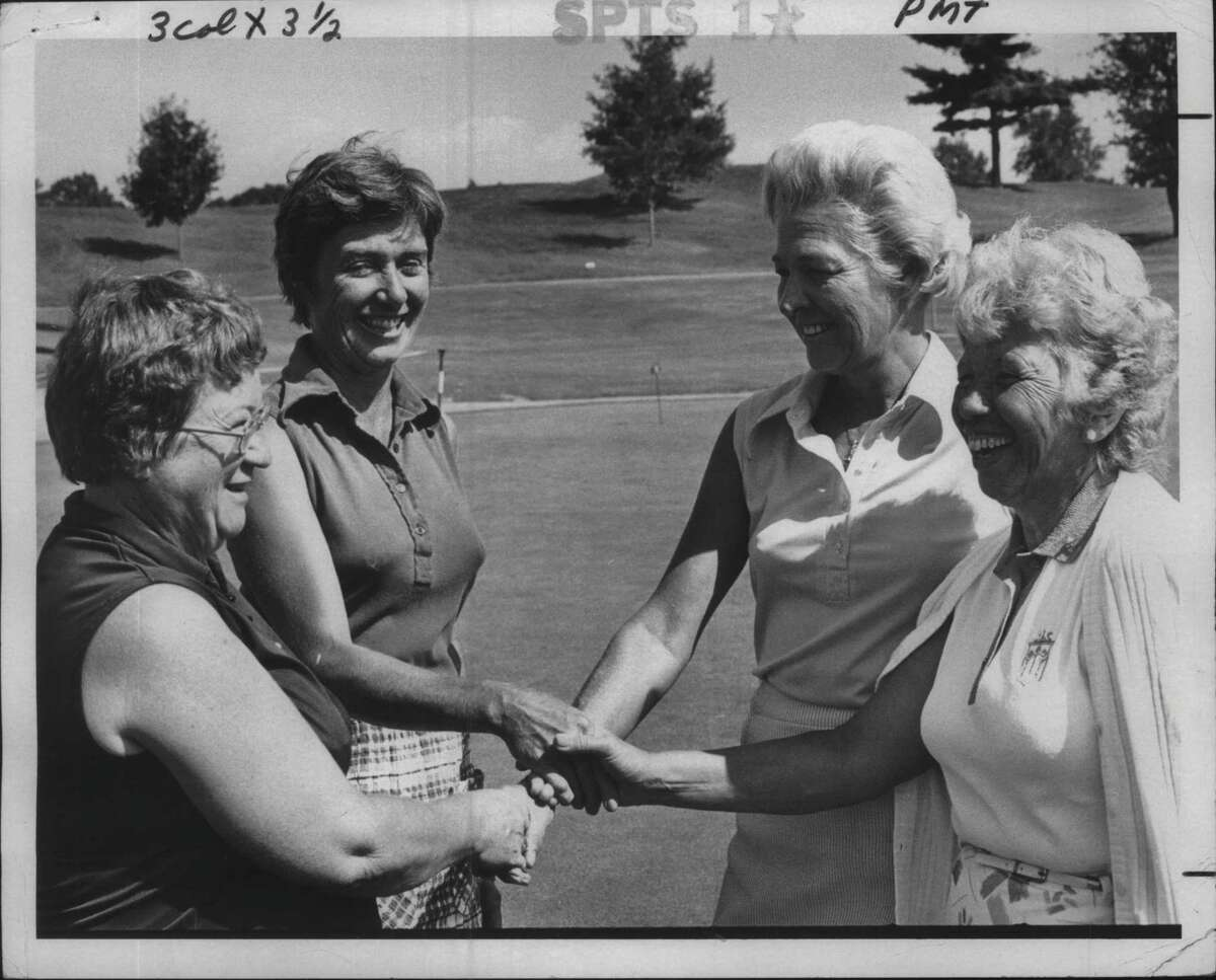 New York - Grace Calligeris and Mary Anny Phelan, co-chairpersons, with Benniejo Coffey and Lee Carnevale, team best ball Undated (59) winners A Flight. Undated (Tom LaPoint/Times Union Archive)