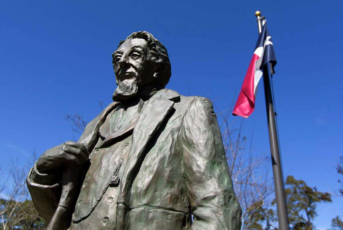 A statue of Charles B. Stewart, designer of the Texas flag, is seen at Cedar Brake Park, Wednesday, Feb. 22, 2019, in Montgomery. The city is holding its first ever fall festival Saturday in downtown historic Montgomery - a day full of live music, fall crafts and unique foods.