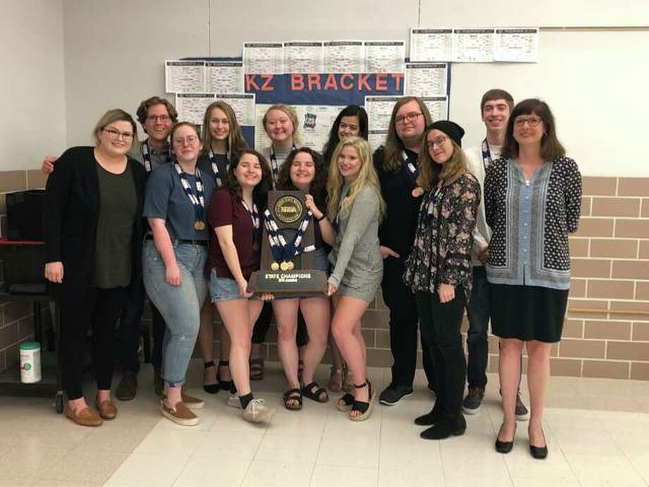 The EHS Journalism Team was recognized at the Edwardsville District 7 board of education meeting for winning the IHSA Journalism State championship. Photo: Julia Biggs | The Intelligencer
