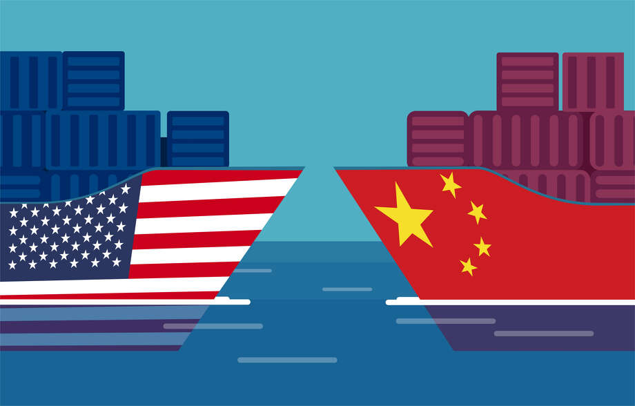 China and United States trade war concept. Vector of two cargo ships. Taxation of import and exports Photo: Feodora Chiosea, Getty Images/iStockphoto