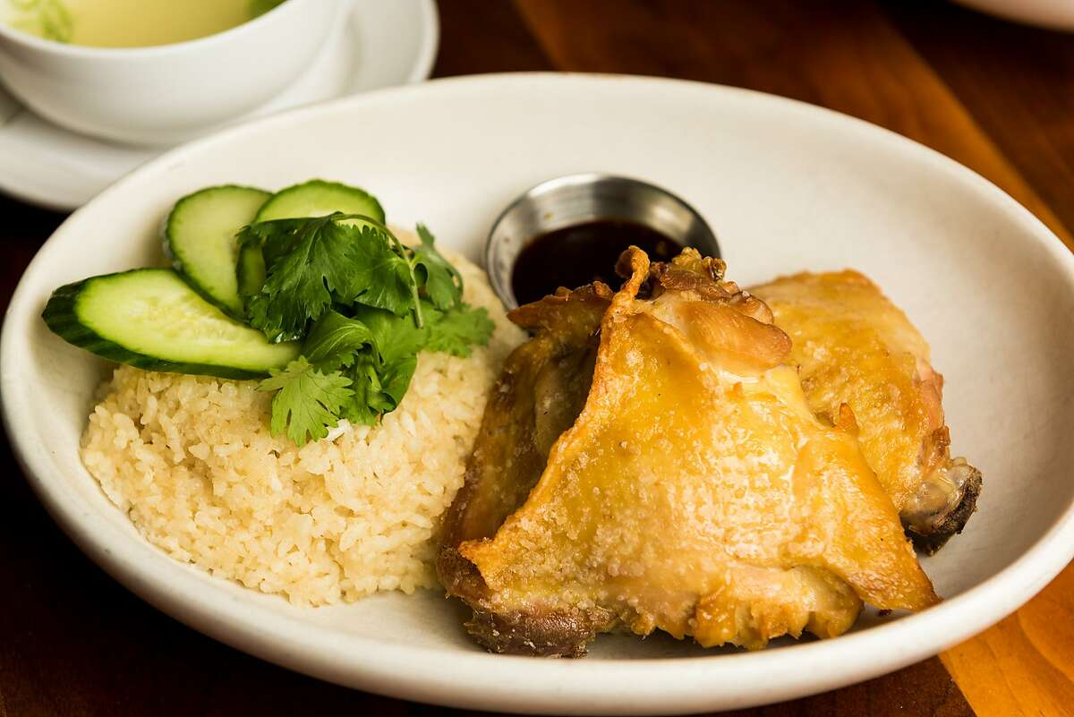 Nora Haron's Singaporean chicken rice features fried chicken, as seen at Local Kitchen.