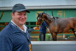 Founder and Co Owner of Bourbon Lane Stables Michael McMahon stands nearr his Preakness entry Bourbon War in the barn area of Pimlico Race Course Thursday May 16, 2019 in Baltimore, MD.  Photo Special to the Times Union by Skip Dickstein