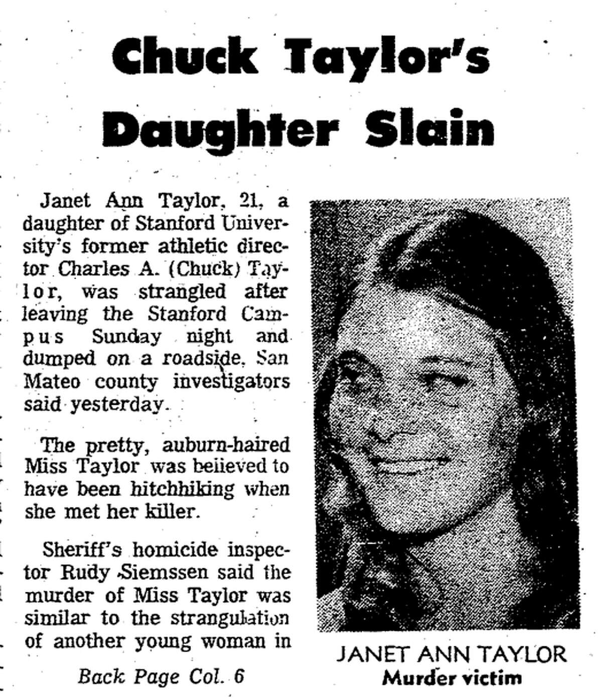 The front page of the San Francisco Chronicle after the 1974 murder of Janet Ann Taylor.