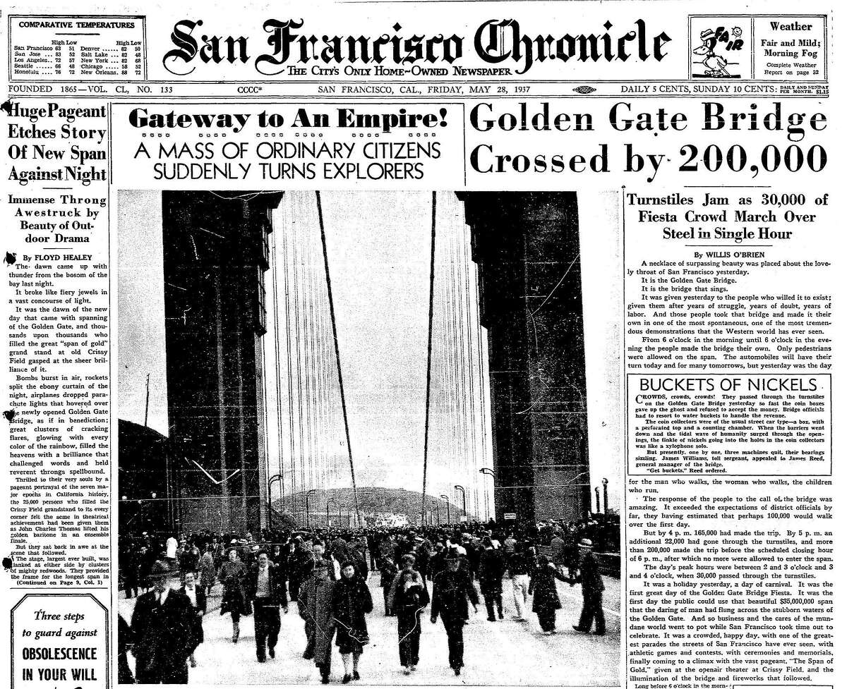 May 28, 1937 Chronicle article reporting on Pedestrians Day, when the bridge was open to pedestrians only, and 200,000 would cross the bridge