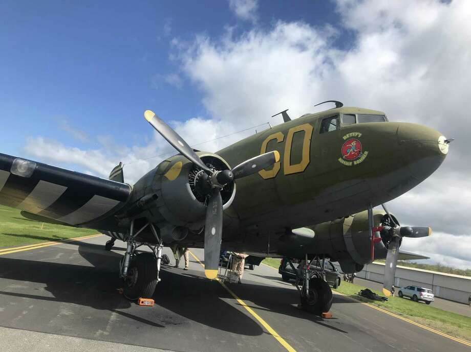 Several WWII-era C-47 and DC-3 aircraft flew over Pratt & Whitney's East Hartford and Middletown facilities Wednesday. Photo: Courtesy Pratt & Whitney