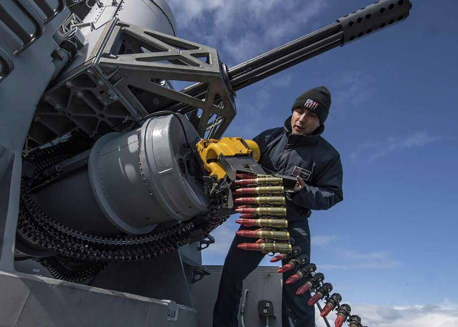 ATLANTIC OCEAN — Fire Controlman 1st Class Alexander Perez, from Houston, reloads a phalanx close-in weapons system aboard the Arleigh Burke-class guided-missile destroyer USS Carney (DDG 64) during Formidable Shield 19 on May 11, 2019. Formidable Shield is designed to improve allied interoperability in a live-fire integrated air and missile defense environment, using NATO command and control reporting structures. Photo: Mass Communication Specialist 1st Class Fred Gray IV / U.S. Navy
