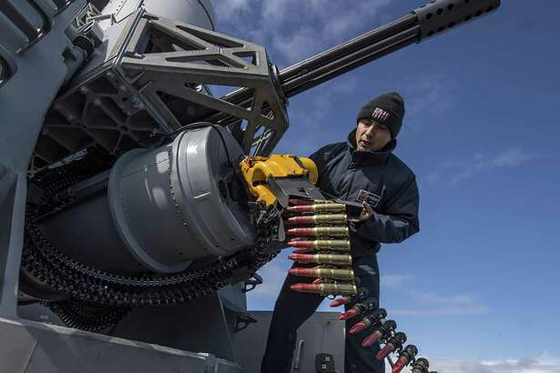 ATLANTIC OCEAN - Fire Controlman 1st Class Alexander Perez, from Houston, reloads a phalanx close-in weapons system aboard the Arleigh Burke-class guided-missile destroyer USS Carney (DDG 64) during Formidable Shield 19 on May 11, 2019. Formidable Shield is designed to improve allied interoperability in a live-fire integrated air and missile defense environment, using NATO command and control reporting structures.