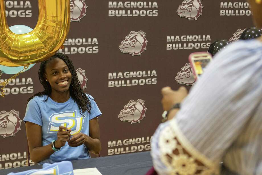 Magnolia High School soccer player Surya Nero poses for a photo during a college signing ceremony Thursday, May 16, 2019 at Magnolia High School in Magnolia. Six seniors from the high school committed to colleges. Photo: Cody Bahn, Houston Chronicle / Staff Photographer / © 2018 Houston Chronicle