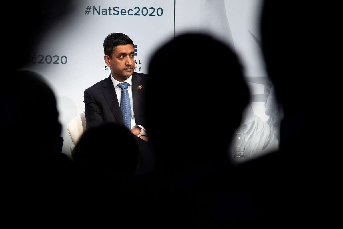 Representative Ro Khanna listens during a panel discussion during the National Security Action Forum at the Capitol Hilton Hotel on May 10, 2019 in Washington, D.C.