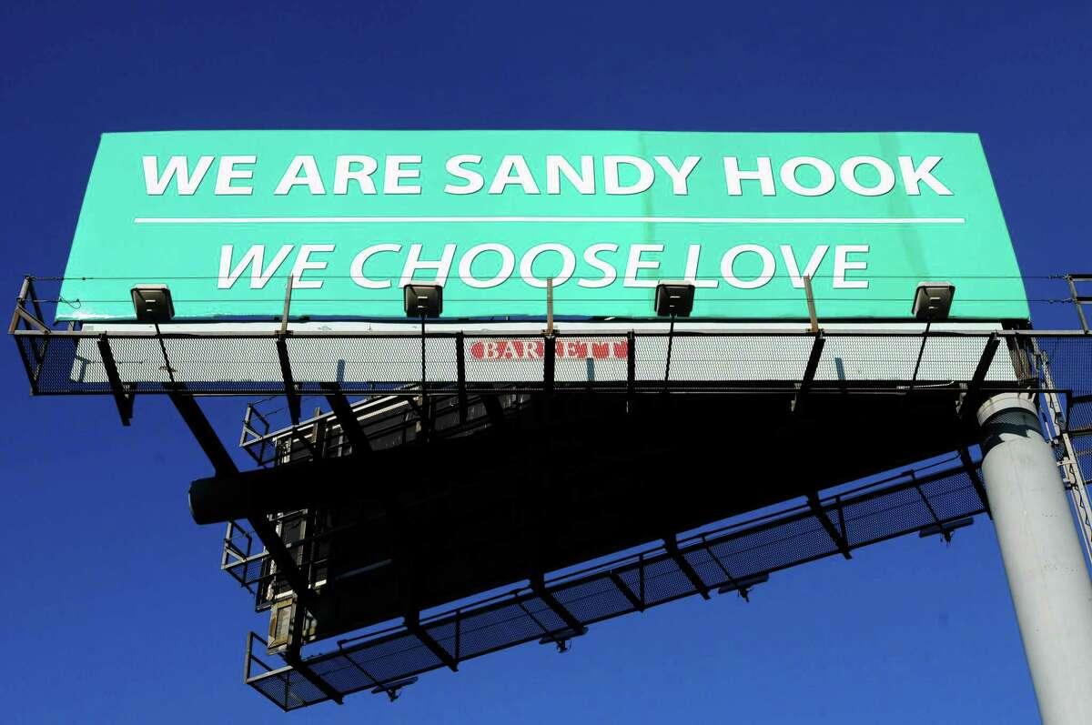 A billboard reads