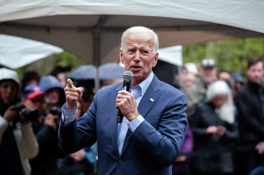 Former Vice President Joe Biden holds a campaign event at the home of a former state senator in Nashua, N.H., May 14, 2019. Biden hopes to create the appearance of a head-to-head contest with Trump, one that elevates him into a statesman-like role above the Democratic primary fray. Trump seems happy to oblige him. (Elizabeth Frantz/The New York Times) Photo: ELIZABETH FRANTZ, STR / NYT / NYTNS