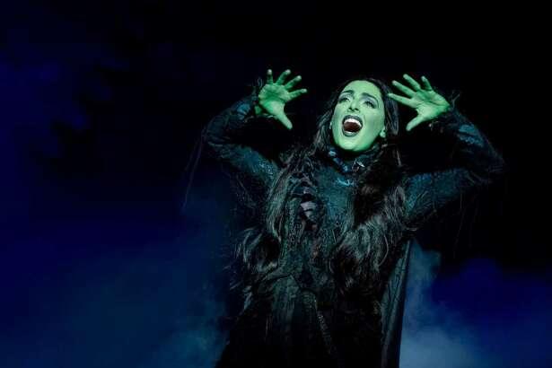 "Hannah Corneau as Elphaba in ""Wicked"" (photo by Joan Marcus)"