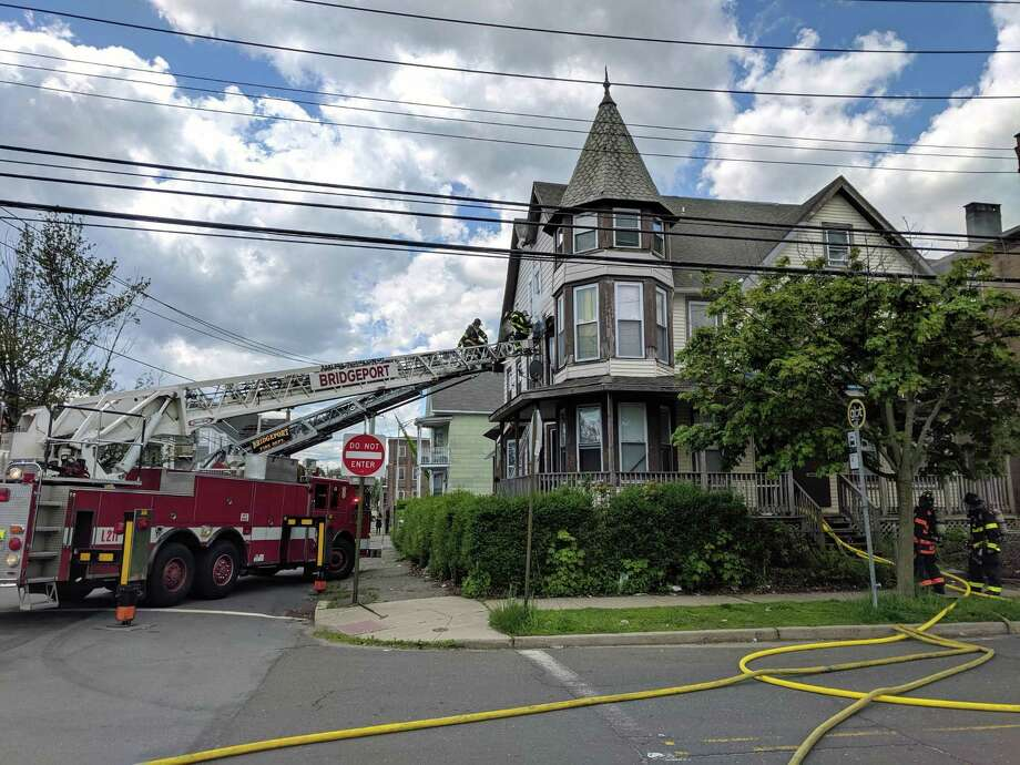 A fire at the corner of Broad and Atlantic streets in Bridgeport, Conn., on May 16, 2019. Photo: Contributed Photo