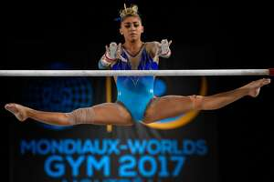 MONTREAL, QC - OCTOBER 07:  Ashton Locklear of The United States of America competes on the uneven bars during the individual apparatus finals of the Artistic Gymnastics World Championships on October 7, 2017 at Olympic Stadium in Montreal, Canada.  (Photo by Minas Panagiotakis/Getty Images)