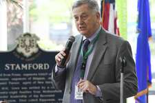 """Stamford City Representative Bob Lion, D-19, speaks during a ceremony for the first ever """"Stamford Day"""" at the Government Center in Stamford, Conn. Thursday, May 16, 2019. The City hopes to make Stamford Day a recurring holiday to celebrate the town's history, heritage and diversity."""