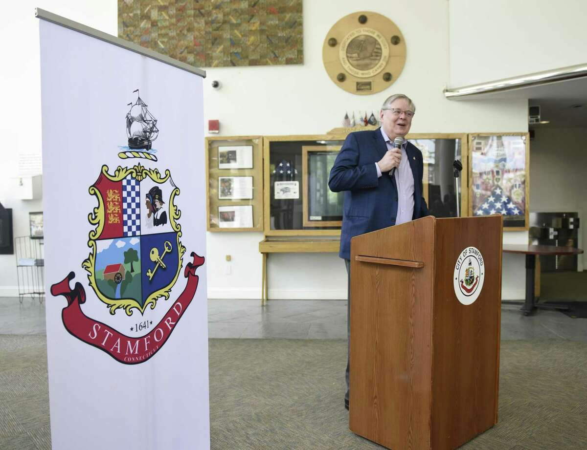 """Stamford Mayor David Martin speaks during a ceremony for the first ever """"Stamford Day"""" at the Government Center in Stamford, Conn. Thursday, May 16, 2019. The City hopes to make Stamford Day a recurring holiday to celebrate the town's history, heritage and diversity."""