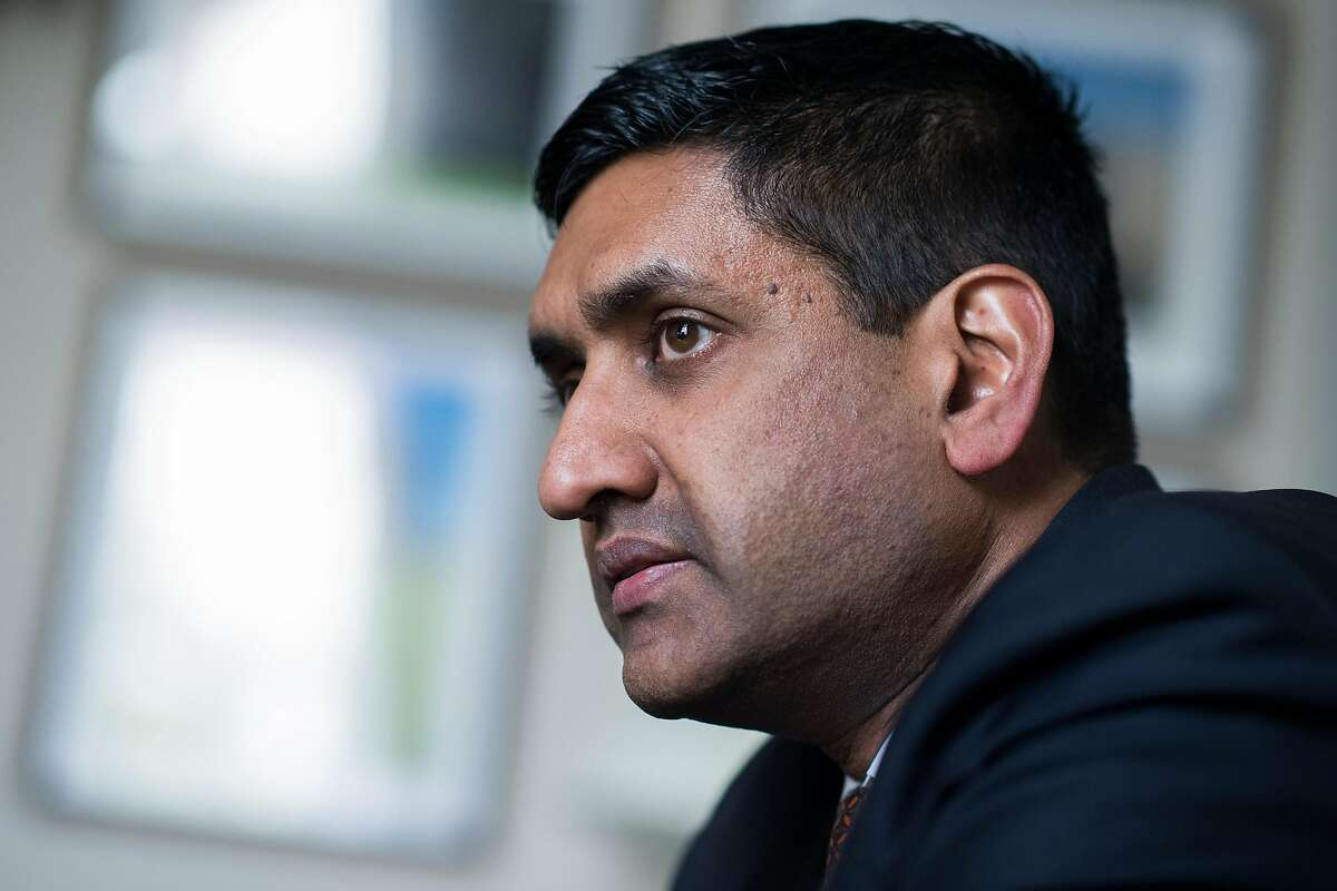 UNITED STATES - APRIL 10: Rep. Ro Khanna, D-Calif., is interviewed by CQ Roll Call in his Cannon Building office on Wednesday, April 10, 2019. (Photo By Tom Williams/CQ Roll Call)
